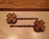 Lucky Four Leaf Clover Bobby Pin Set - laser cut wood