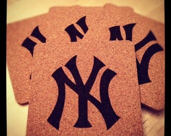 Set of 4 Cork Coasters with Your Favorite Sports Team