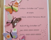 Butterfly Invitation Cards- birthday, baby shower, bridal shower, graduation, sweet 16- set of 8