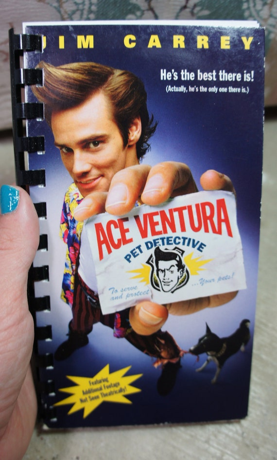 recycled 90's ACE VENTURA pet detective vhs notebook