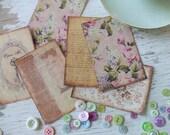 Note Cards - Shabby cottage - Chic Notecards - plum tones - flowers  - key - embellishments