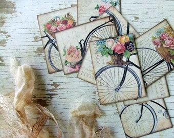 Vintage Inspired Shabby Chic Miniature French Bicycle Postcards - embellishments