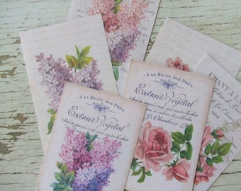 Mini notecards - small notecards - shabby cottage style - flowers and script  - embellishments