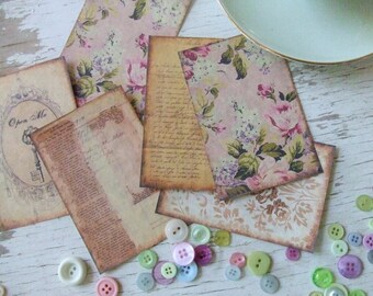 Note Cards - Shabby cottage - Chic Notecards - plum tones - flowers  - key - embellishments