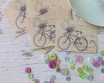 Mini notecards - small notecards - shabby style notecards - bicycles - embellishments