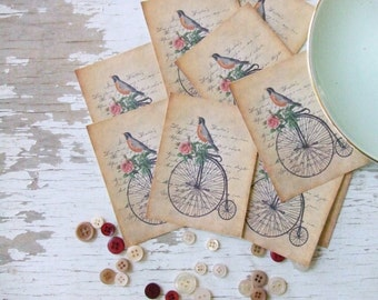 Mini notecards - small notecards - shabby cottage notecards penny farthing - bicycle - embellishments