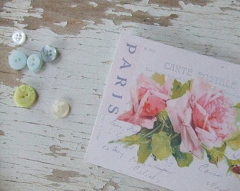 Shabby  style - cottage chic mini French notecards -  Rose Postcards on white - embellishments