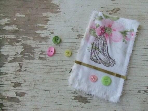 Vintage inspired shabby chic - fabric decorative canvas tile -  Parisian Ballgown - embellishment