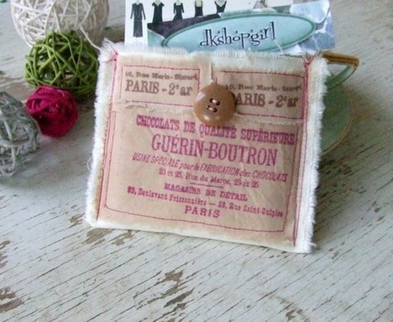 Shabby Chic Antique Inspired - Decorated Credit Card/Business Card Pouch  - Chocolates and Paris