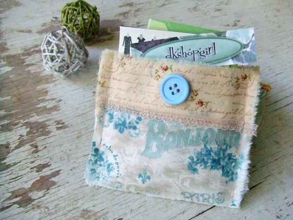 Shabby Chic - Decorated Credit Card/Business Card Pouch  - Blue Bonjour