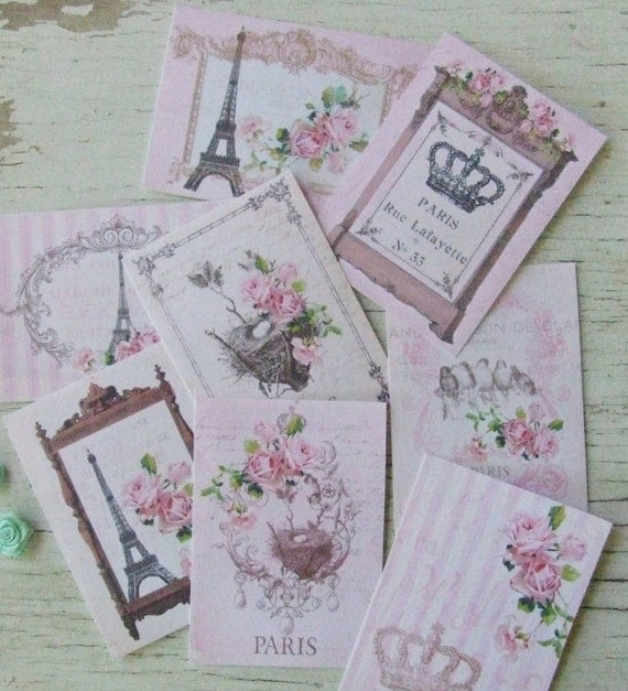 Paris notecards - Shabby cottage Chic mini French cards -  Pink Paris themed notecards - embellishments
