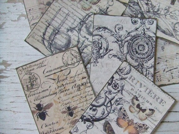 Mini notecards - small notecards -  shabby cottage chic - neutral colours -  butterflies - insects - embellishments