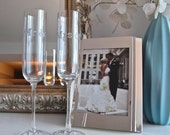 MR. and MRS. Champagne Flutes in Silver Crystal