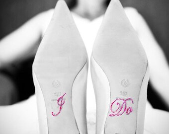 Wedding Crystal I DO Shoe Stickers in Pink