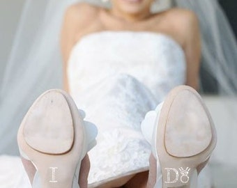 I DO Shoe Sticker Decal in Silver with Diamond Ring
