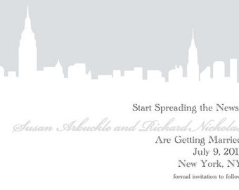 New York City NYC Skyline Wedding Save the Dates / Invitations -- Customizable