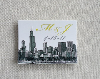 Set of 25 Wedding Stickers for Gifts, Favors or Welcome Bags with City Skyline