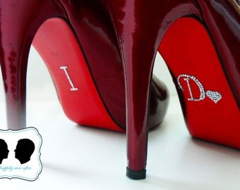 Wedding Jewelry for Shoes - HEART I DO Crystal Shoe Stickers in Silver - Perfect addition to your Bridal Shoes