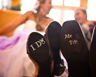 I Do Shoe Crystals with DIAMOND RING & Me Too Groom Stickers for the Bride and Grooms Wedding Shoes.  Perfect Photo Opp
