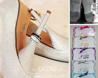 Wedding Photo Props for the Bride and Groom - I Do Shoe Crystals & Me Too Groom Stickers Special Package Deal