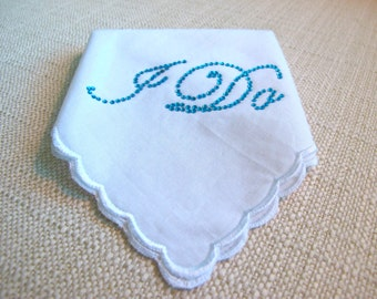 Wedding Bridal Hankie with Crystal I DO  for your Something Blue Lingerie