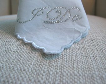 Wedding Hankie to go with wedding dress - Crystal I DO in Silver