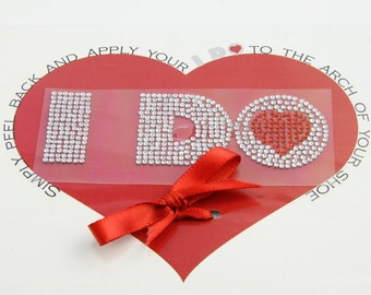I DO Crystal Shoe Stickers Larger Size Heart