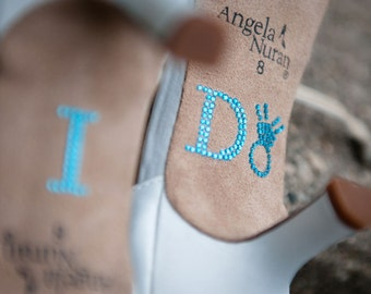 I DO Crystal Shoe Stickers in Blue with Diamond Ring Wedding