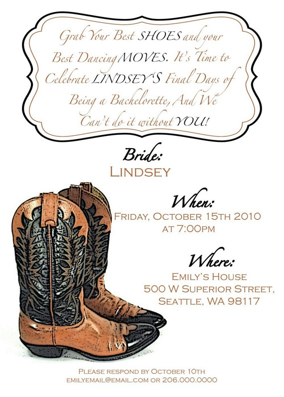 My Favorite Cowgirl Boots Girls Night Out or Bachelorette Party Invitation