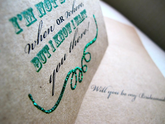 Will You Be My Bridesmaid, Maid, Matron of Honor, etc Wedding Card