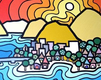 "Kelowna North, 8"" x 10"" Fine Art Print of Original Acrylic Landscape Painting --Buy Any 2 Prints & Get a 3rd FREE--"