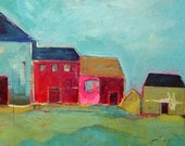 RESERVED FOR WRITECHELLE - Houses on the Hillside in Spring Acrylic Painting