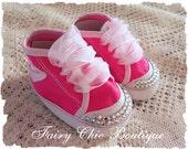 Hi Top Converse Baby Booties Hot Pink