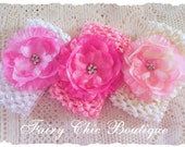 Crystal Flower Headband Set of 3 - Pink White and Ivory