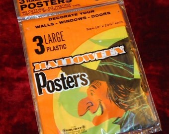Vintage un-opened Package of 3 Plastic Halloween Posters