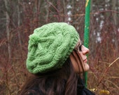 Slouchy green hat with pom pom lambswool hand knit in Estonia