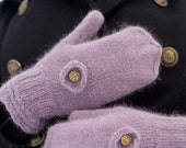 Lavender Mittens with Button Embellishment Soft Angora Merino Hand Knit in Estonia