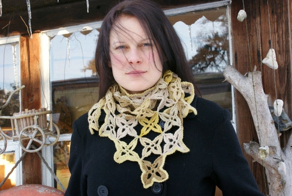SALE: Lace Flower Motifs Triangular shawlette Naturally Dyed Earth Tones Hand Crochet in Estonia