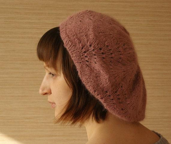 SALE: Lacy Beret Tea Rose Pink Merino Angora Wool Hand Knit in Estonia