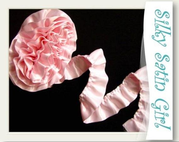 Ruffled Baby Pink Satin Blanket Binding Wrights By