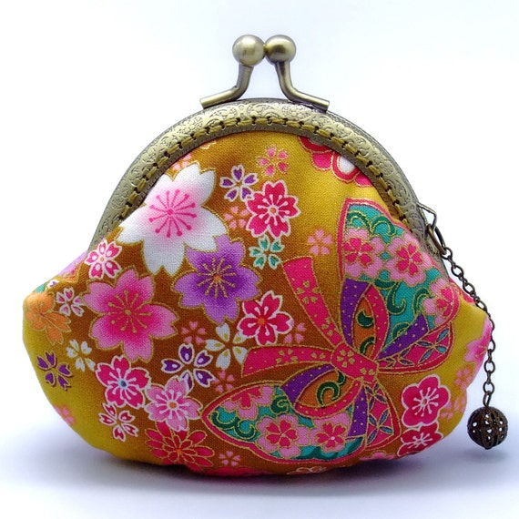 Sakura and Butterfly - Japanese Kimono Fabric-small clutch / Coin purse (JS-15)