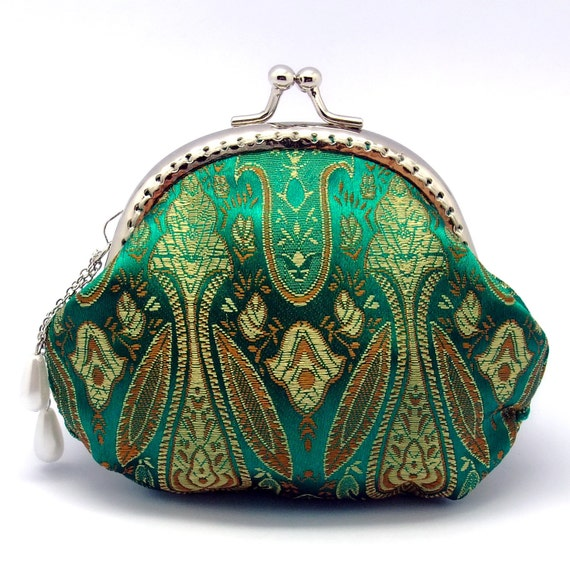 Beautiful pattern on green - Chinese Silk Brocade - Small clutch / Coin purse (CS-017)