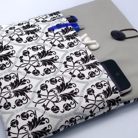 iPad case, iPad cover, iPad sleeve with 2 pockets, PADDED - Damask on white