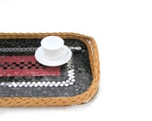 Mosaic serving tray black red home decor