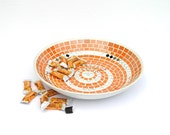 Platter large orange tangerine glass mosaic art modern home decor