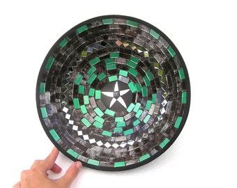 Mosaic Bowl Green Mosaic Fruit Bowl, Modern Fruit Bowl Dish, Handmade Fruit Bowl, Glass Mosaic Home Kitchen Decor, Starfish