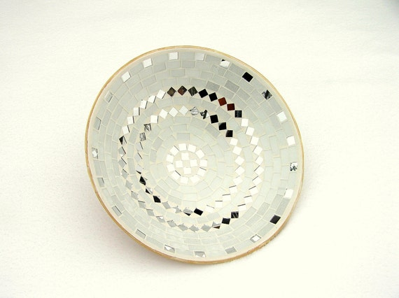 White bowl glass mosaic home decor with mirror