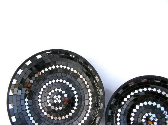 Black platters glass mosaic art home decor
