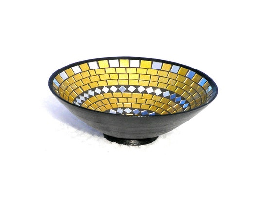 Golden yellow mustard home decor bowl with mirror pieces mosaic