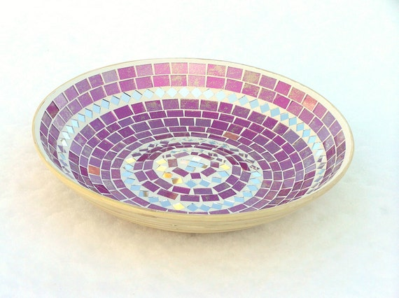 Platter large pink violet glass mosaic art home decor